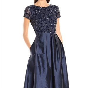 Adrianna Papell Navy blue beaded and taffeta gown